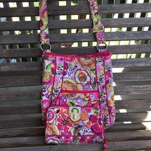 Vera Bradley crossbody purse and wallet set